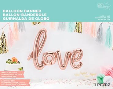 Folienballon, Schriftzug, love in Ros'e Gold