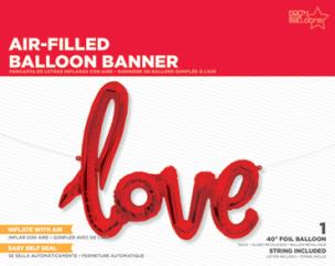 Folienballon, Schriftzug, love in Rot
