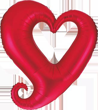 Folienballon Rotes offenes Herz