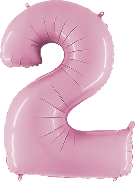Kleine Folienballon Zahl 2 in Pastel Pink