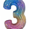 3 Megaloon Rainbow Holographische Folienzahlen 40in100cm