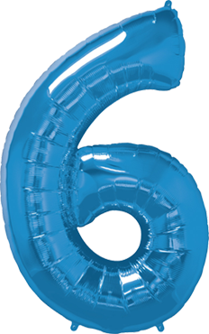 Folienballon Zahl 6 Folienballon in Blau