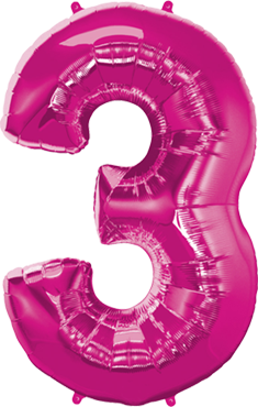 Folienballon Zahl 3 in Magenta