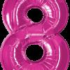 Folienballon Zahl 8 in Magenta