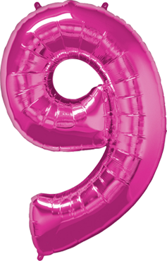 Folienballon Zahl 9 in Magenta