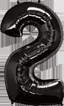 Folienballon Zahl 2 in Schwarz