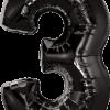 Folienballon Zahl 3 in Schwarz