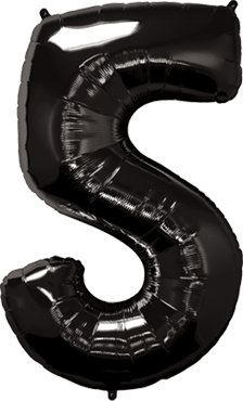 Folienballon Zahl 5 in Schwarz