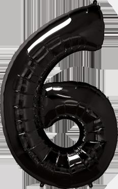 Folienballon Zahl 6 in Schwarz