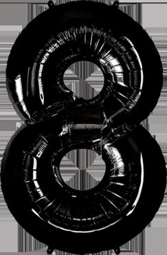 Folienballon Zahl 8 in Schwarz