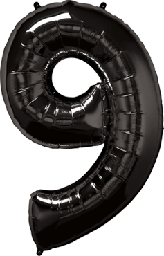 Folienballon Zahl 9 in Schwarz