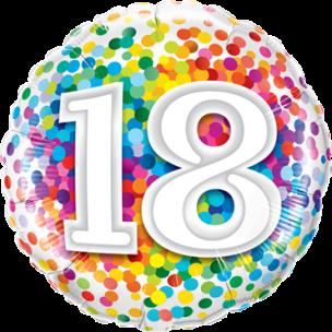 Bunter Folienballon mit einer 18