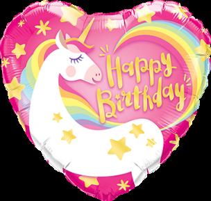 Folienballon, Herz, Happy birthday mit einem Einhorn