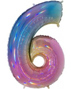 6 Megaloon Rainbow Holographische Folienzahlen 40in100cm