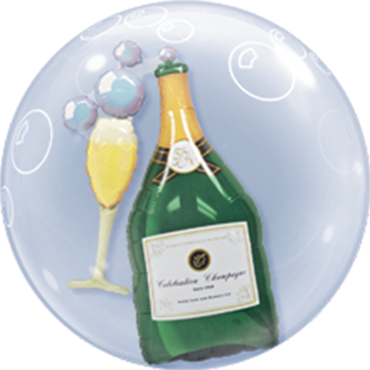 Double Bubble mit Sektflasche und einem Glas
