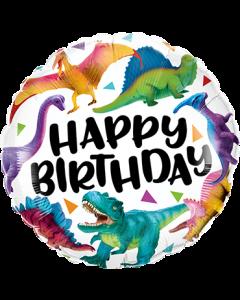 Birthday Colorful Dinosaurs Folienform Rund 18in45cm