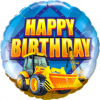 Happy Birthday Großer Bagger Folienballon Rund 18in45cm