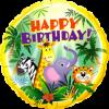 Birthday Jungle Friends Folienform Rund 18in45cm