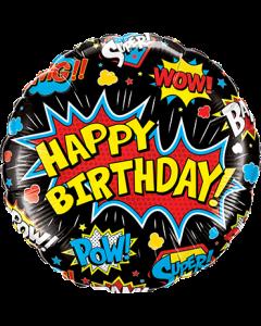 Birthday Super Hero Black Folienform Rund 18in45cm