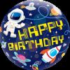 Bubble Happy birthday mit Astronaut und Rakete