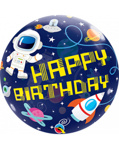 Bubble Happy birthday mit Astronaut und Rakete