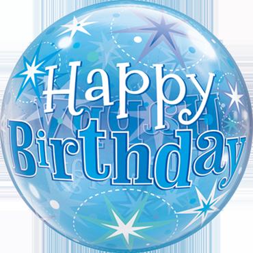 Bubble Happy Birthday in Blau