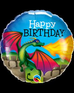 Folienballon Happy Birthday mit einem Drachen