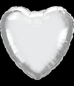 Folienballon Herz in Chrome Silber