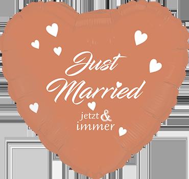 Folienballon Herz in Rose Gold, Just Married
