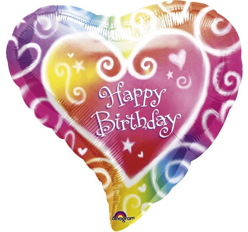 Folienballon, Herz, Happy birthday