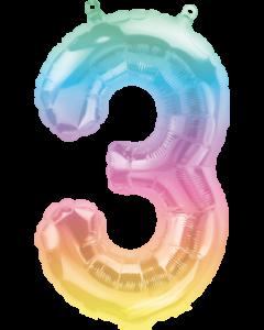 Kleine Zahl Drei in Regenbogenfarben