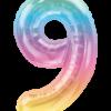 Kleine Zahl Neun in Regenbogenfarben