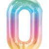 Kleine Zahl Null in Regenbogenfarben