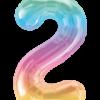 Kleine Zahl Zwei in Regenbogenfarben