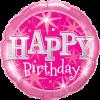Runder Folienballon in Pink Happy Birthday