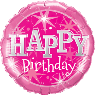 Runder Folienballon in Pink Happy Birthday