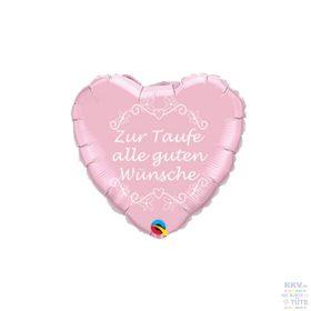 Folienballon Herz Zur Taufe alle guten Wünsche